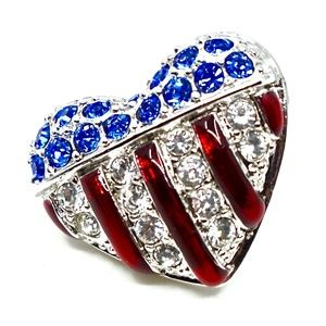 SWAROVSKI~flag heart #151127~PAVE CRYSTAL PIN